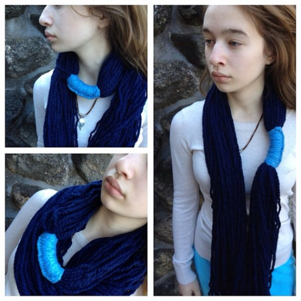 The Ithaca Infinity Scarf / cowl / crochet / knit in blues