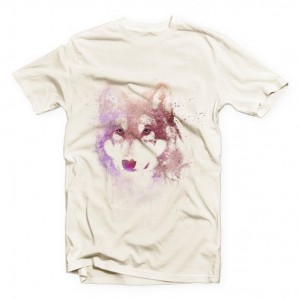 Watercolor Wolf Art T Shirt for Him Her
