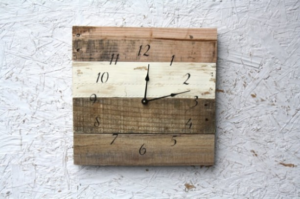 Nautical Clock.  Ivory & Natural Wood.  Hip Beach Clock.  Reclaimed wood.