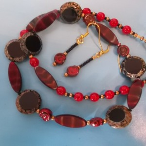The Core - firey czech amazing beaded 19 inch necklace with matching earrings
