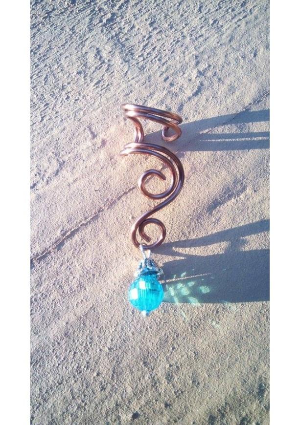 Copper Wire Swirling Ear Cuff - Right Ear