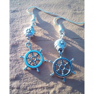 Nautical Hanging Wheel Earrings