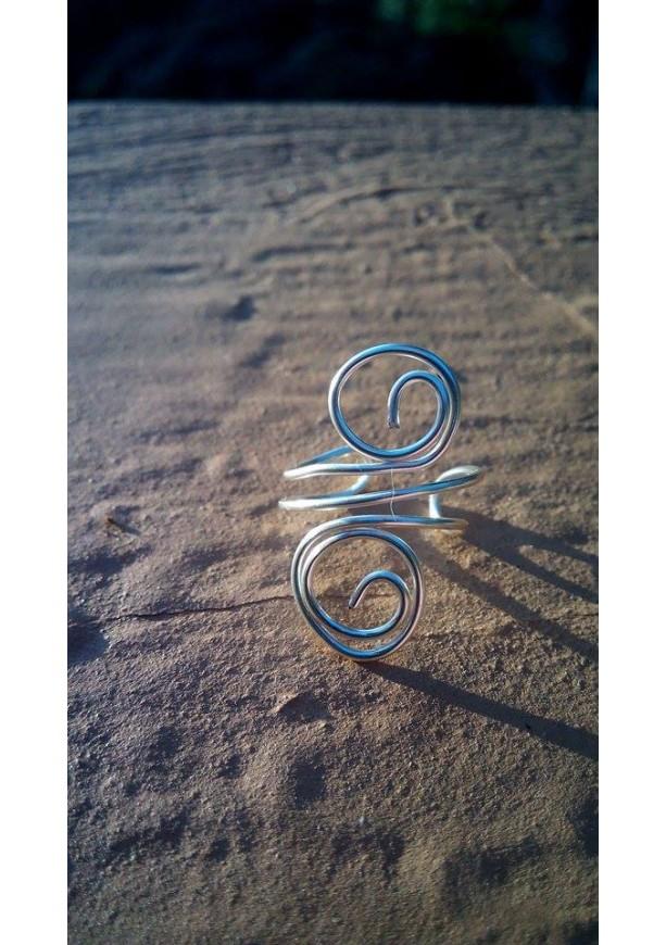 Double Swirl Silver Wire Ear Cuff - Right Ear