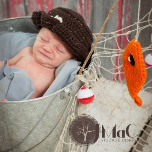 little fisherman hat with orange fish newborn baby photography prop