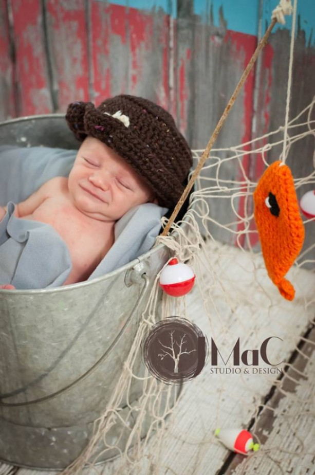 little fisherman hat with orange fish newborn baby photography prop