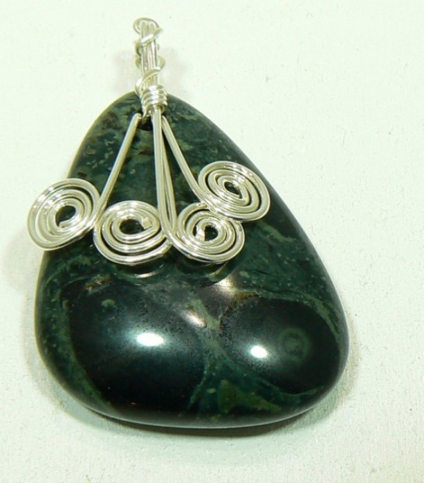 Kambaba Japser Pendant with Silver Spirals