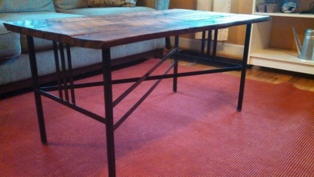Wood and steel table