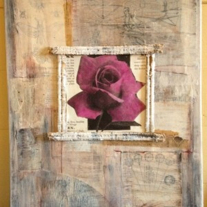 Original Handmade Collage, Killarney Rose, 16x20 Stretched Canvas, Vintage Gardening