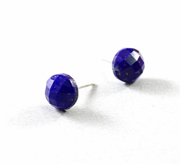 Lapis Lazuli Earrings Sterling Silver Blue Studs Gemstone