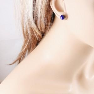 Lapis lazuli earrings, sterling silver blue studs, gemstone