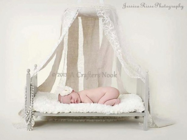 Large traditional newborn photography prop baby doll posing bed with foam mattress diy ready to