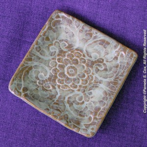 Square Creamy Lace Impressed Stoneware Pottery Plate