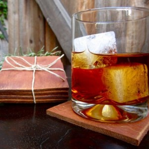 Set of 4 Hand-Cut Leather Coasters - Reclaimed Industrial Leather