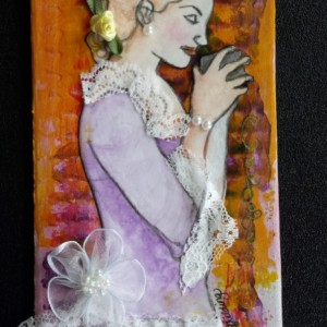 Life, Liberty & the Pursuit of Coffee Mini Mixed Media Art & Bookmark