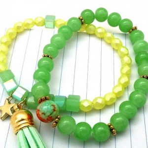 Stackable Boho Set, Lemon Lime Bracelet, Yellow Stretchy, Green Stretchy, Trendy Teen Bracelet, Pale Yellow Bracelet, Tassel Armcandy