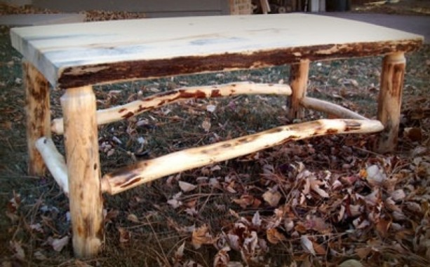 Rustic Log Coffee Table aftcra