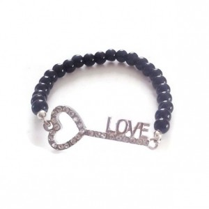 Love Is The Key Rhinestone Bracelet