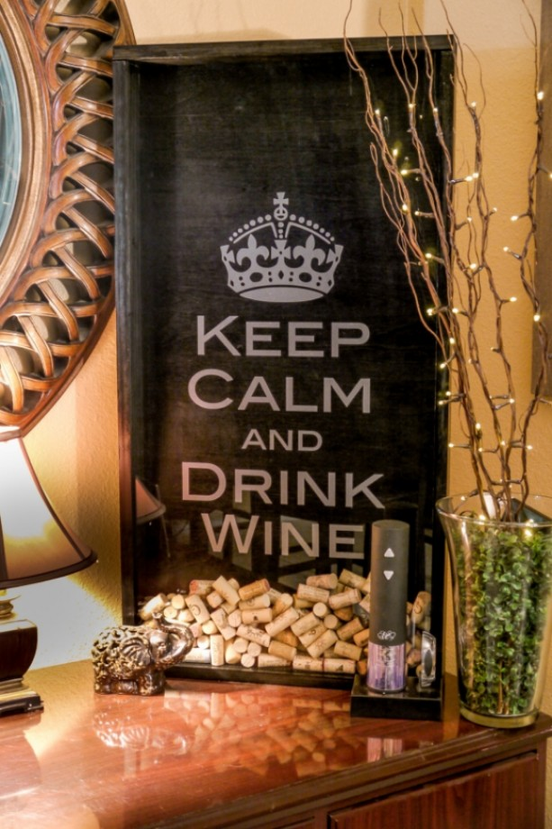 Large Wine Cork Holder - Handmade Shadow Box with KCDW