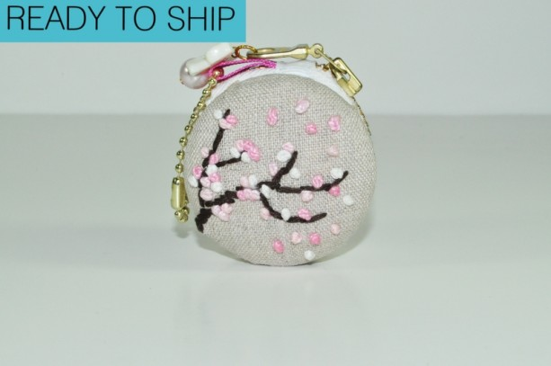 Macaron Coin Purse - Bag or Key Charm - Cherry Blossoms on Linen
