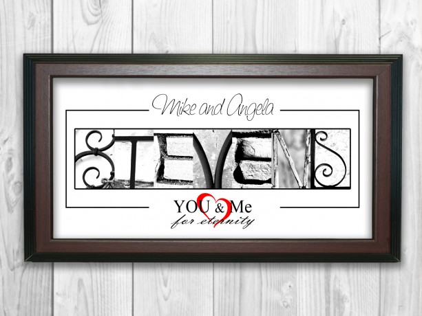 Alphabet Photography Name Sign PERSONALIZED - 10x20 FRAMED, Perfect Custom Holiday Gift