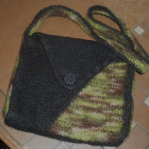 Split Purse-inality Felted Bag in Black and Forest Camo
