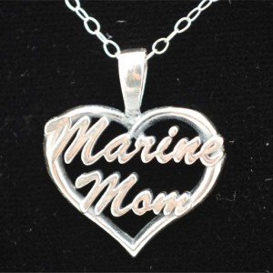 Marine Mom Heart Pendant