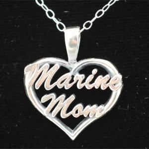 Marine Mom Heart Pendant
