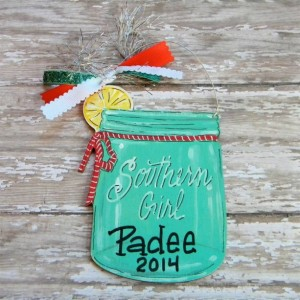Mason Jar Ornament, hand painted, wood ornament, personalized