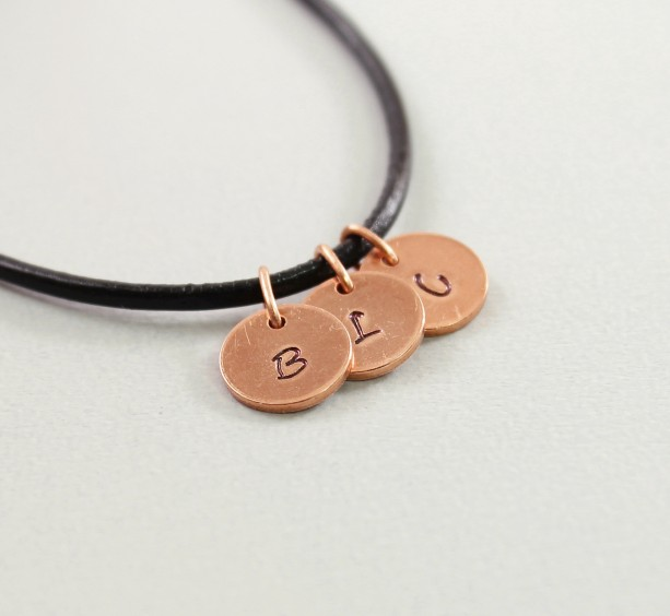 Three initial necklace for men; custom hand stamped copper mens necklace; black leather