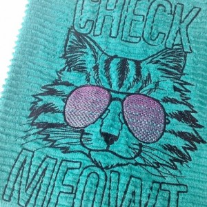 Check Meowt Bar Towel - Teal Kitchen towel - Cotton - 18.5 x 16.5