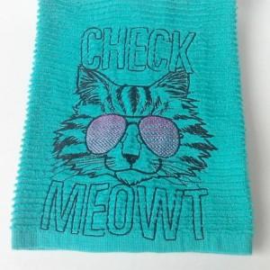 Check Meowt Bar Towel - Teal Kitchen towel - Cotton - 18.5 x 16.5