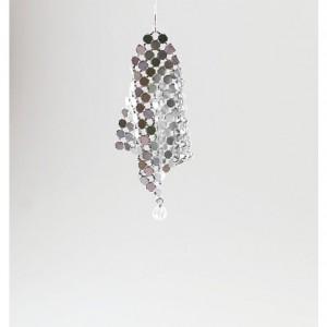 Mesh rock crystal quartz earrings, floating, disco