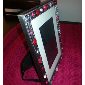 Romantic Upcycled Metal Photo Frame with Hearts
