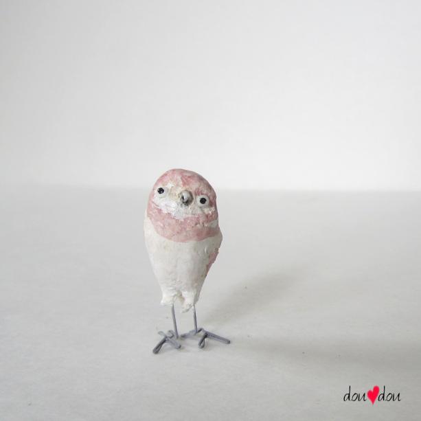 Miniature White Pink Owl