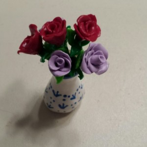 Handmade Dollhouse Miniature Clay Vase of Roses