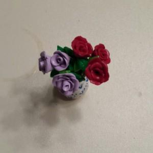 Handmade Dollhouse Miniature Clay Vase of Roses