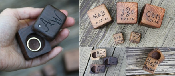 Mini Ring Box Rustic Wood Personalized Bearer Wedding