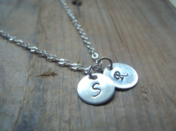 Sterling Silver Small Personalized Initial Double Charm Necklace