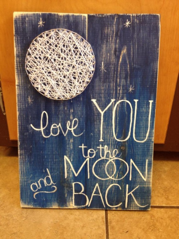 String Art Moon I Love You To The And Back Nursery Wal