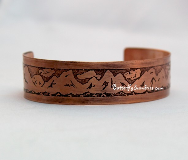 Scenic Mountain Adjustable Etched Bracelet - Beautiful World Collection - Available as a brass or copper cuff