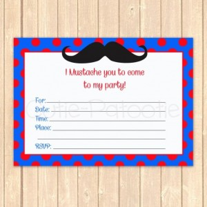 Polka Dot Mustache Birthday Event Invitation