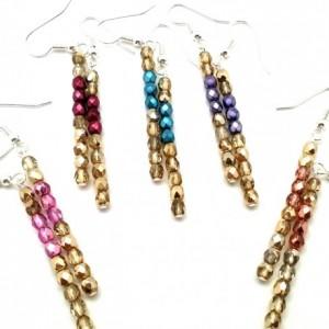 Simple Mod Earrings, Multicolor Dangles, Dainty Boho Earrings, Pastel Chic Earrings, Trendy Mod Earrings, Pastel Pink Gold