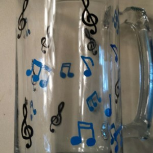 Unique Music Note Glass Stein