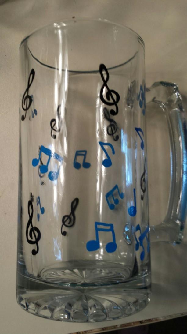 Unique Music Note Glass Stein