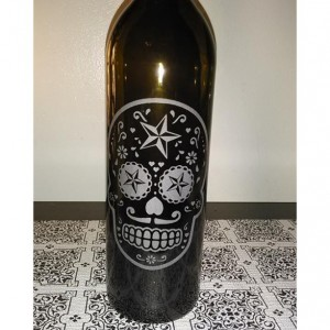 Sugar Skull Wine Bottle Lamp
