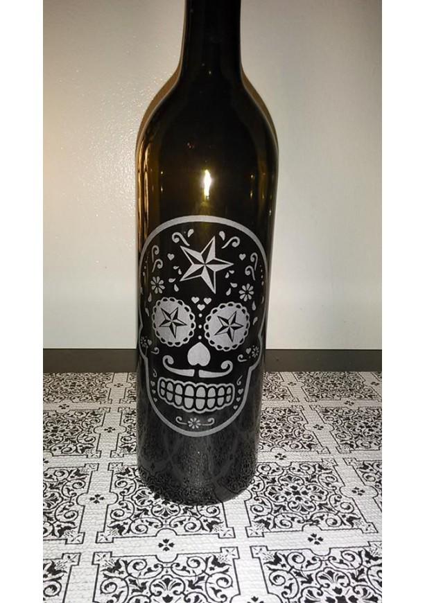 Sugar Skull Wine Bottle Lamp