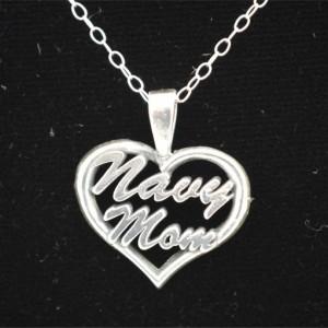 Navy Mom Heart Pendant