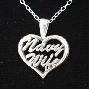 Navy Wife Heart Pendant