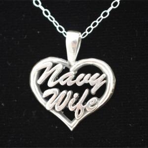 Navy Wife Heart Pendant
