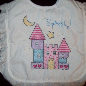 White Cotton Baby Bib - Princess Castle